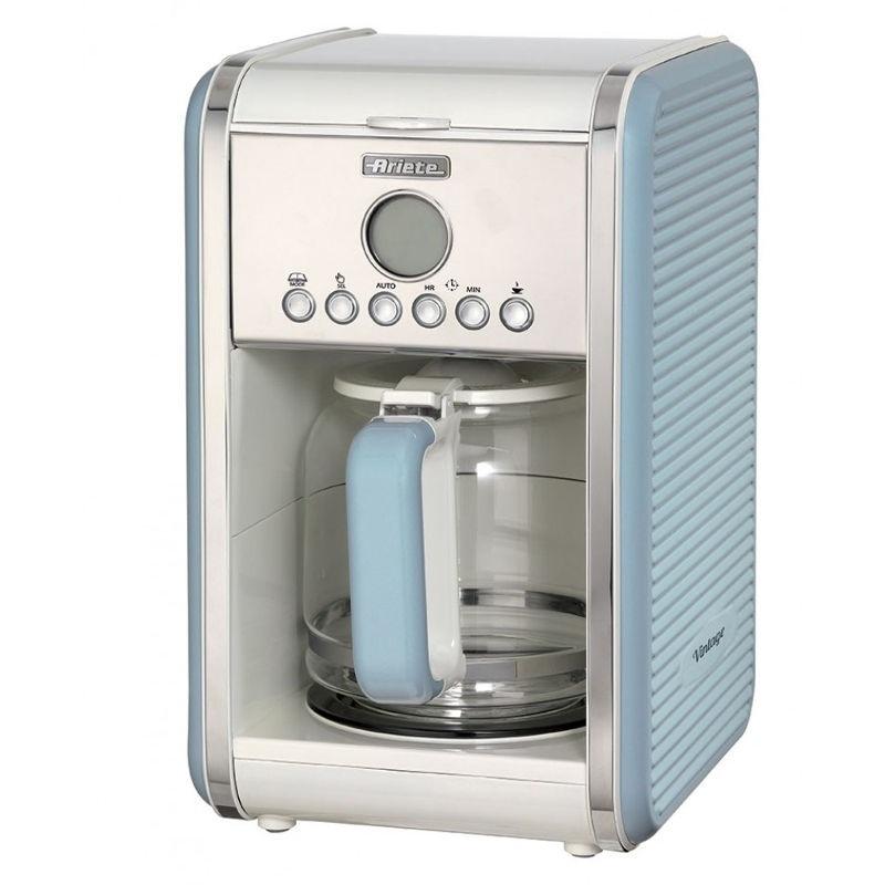 Кофемашина Ariete 1342 Vintage BlueКофеварки и кофемашины<br><br><br>Тип используемого кофе: Молотый<br>Фильтр  : Постоянный<br>Материал корпуса  : Пластик<br>Плита автоподогрева: Есть<br>Съемный лоток для сбора капель  : Нет