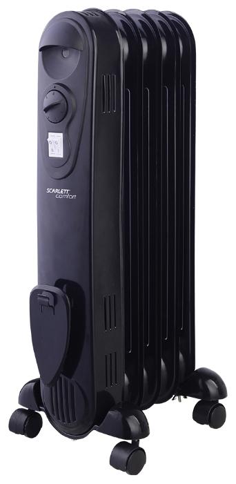 Масляный радиатор Scarlett SC 21.1005 SBОбогреватели<br><br><br>Тип: масляный радиатор<br>Максимальная мощность обогрева: 1000 Вт<br>Отключение при перегреве: есть<br>Каминный эффект : есть<br>Управление: механическое<br>Регулировка температуры: есть<br>Термостат: есть<br>Выключатель со световым индикатором: есть<br>Отделение для шнура : есть<br>Колеса для перемещения: есть
