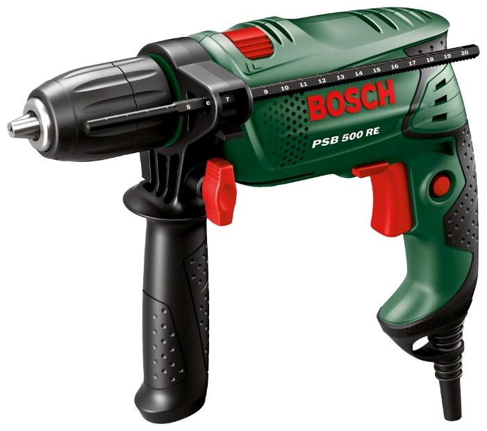 Дрель-шуруповерт Bosch PSB 500 RE Case (БЗП) [0603127020]Дрели, шуруповерты, гайковерты<br>Ударная дрель Easy PSB 500 RE от Bosch: максимальное усилие при минимальном размере<br><br>Потребительские преимущества<br>- Вне конкуренции: компактное исполнение с рукояткой с мягкой накладкой, малый вес &amp;#40;всего 1,5 кг&amp;#41; и исключительное удобство -использования обеспечивают комфорт в работе и превосходные результаты при решении любой задачи<br>- Благодаря мощному двигателю на 500 Вт и диаметру отверстия 13 мм при сверлении в бетоне выполнение даже тяжёлых работ станет пустяковым делом<br>- Электронное управление частотой вращения Bosch Electronic: функция «Разгона» от 0...<br><br>Тип: дрель-шуруповерт<br>Тип инструмента: ударный<br>Тип патрона: быстрозажимной<br>Количество скоростей работы: 1<br>Питание: от сети<br>Возможности: реверс, электронная регулировка частоты вращения<br>Кейс в комплекте: есть