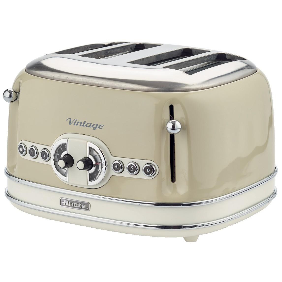 Тостер Ariete Vintage 156/03Тостеры и минипечи<br>Выполненный в стильном ретро-дизайне тостер 156 серии Vintage от итальянской компании Ariete — это производительный тостер мощностью 1600 Вт. Особенностью рассматриваемой модели является возможность одновременного поджаривания четырех ломтиков хлеба, при этом степень прожарки регулируется по схеме 2 х 2.<br><br>Вы сможете выбрать 1 из 6 уровней прожарки, и заручитесь поддержкой функции разморозки или подогрева ранее зажаренного тоста. Система центрирования и автоматический выброс хлебцев позволят ежедневно наслаждаться ароматными и хрустящими ломтиками,...<br><br>Тип: тостер<br>Мощность, Вт.: 1600<br>Тип управления: Механическое<br>Количество отделений: 4<br>Количество тостов: 4