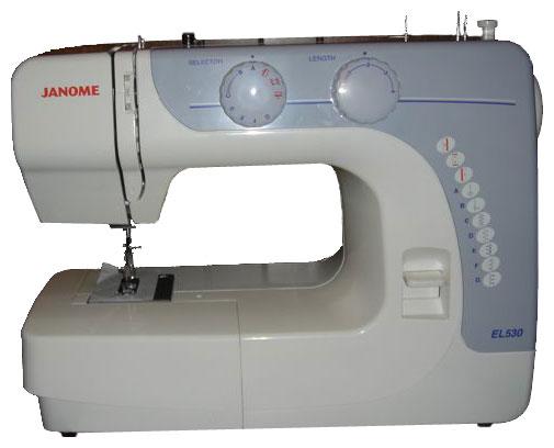 Швейная машина Janome EL 530Швейные машины<br><br><br>Тип: электромеханическая<br>Тип челнока: качающийся<br>Вышивальный блок: нет<br>Количество швейных операций: 8<br>Выполнение петли: полуавтомат<br>Максимальная длина стежка: 4.0 мм<br>Максимальная ширина стежка: 5.0 мм<br>Потайная строчка : есть<br>Эластичная строчка : есть<br>Эластичная потайная строчка: есть