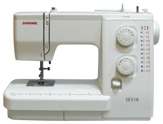 Швейная машина Janome SE-518Швейные машины<br><br><br>Тип: электромеханическая<br>Количество швейных операций: 19<br>Выполнение петли: полуавтомат<br>Максимальная длина стежка: 4.0 мм<br>Максимальная ширина стежка: 5.0 мм<br>Потайная строчка : есть<br>Эластичная строчка : есть<br>Эластичная потайная строчка: есть<br>Кнопка реверса: есть<br>Система измерения размера пуговиц: есть
