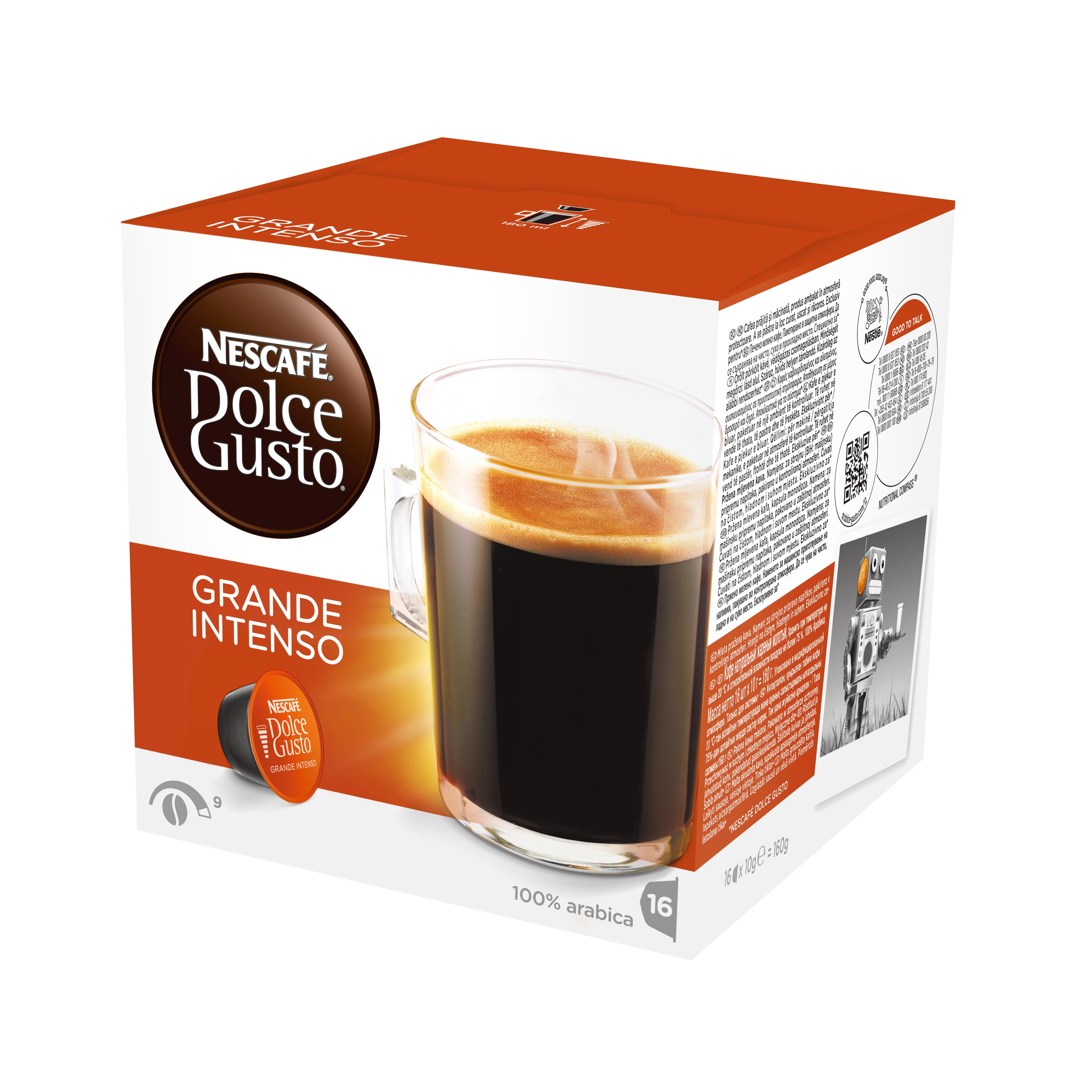Кофе в капсулах Dolce Gusto Grande IntensoКофе, какао<br>Создайте себе неповторимое утреннее настроение вместе с Nescafe® Dolce Gusto®! Насладитесь восхитительным пробуждающим кофе Caf&amp;#233; Grande Intenso, который приятно удивит вас глубоким вкусом и насыщенным ароматом.<br>Grande Intenso- это большая чашка крепкого кофе, для любителей глубокого насыщенного вкуса кофе.<br>СОСТАВ: кофе натуральный жареный молотый<br><br>Тип: кофе в капсулах<br>Обжарка кофе: средняя<br>Дополнительно: 16 капсул