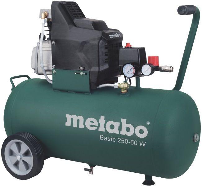 Компрессор Metabo Basic 250-50 W [601534000]Воздушные компрессоры<br>Комплект поставки:<br>- Компрессор Metabo Basic 250-50 W<br>- универсальный быстроразъемный коннектор<br>- прорезиненная рукоятка<br>- транспортировочные колеса<br>- картонная коробка<br> <br>Особенности модели:<br>- Надежная защита - Двигатель масляного компрессора Metabo Basic 250-50 W прикрыт кожухом, который защищает его от нежелательных повреждений, а так же от грязи, влаги и пыли.<br>- Визуальный контроль - Два манометра позволяют визуально контролировать давление на выходе и на входе.<br>- Маневренность - Большие колеса позволяют с легкостью перемещать компрессор по рабочей зоне, не прикладывая...<br>