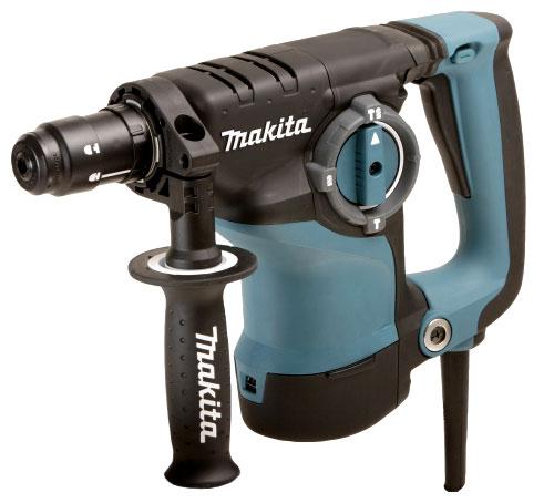 Перфоратор Makita HR2811FTПерфораторы<br><br><br>Тип крепления бура: SDS-Max<br>Количество скоростей работы: 1<br>Потребляемая мощность: 800 Вт<br>Макс. энергия удара: 2.93 Дж<br>Макс. диаметр сверления (дерево): 32 мм<br>Макс. диаметр сверления (металл): 13 мм<br>Макс. диаметр сверления (бетон): 28 мм<br>Макс. диаметр сверления (полой коронкой): 70 мм<br>Питание: от сети<br>Возможности: реверс, предохранительная муфта, электронная регулировка частоты вращения
