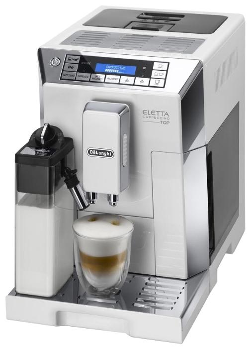Кофемашина Delonghi ECAM 45.760.W WhiteКофеварки и кофемашины<br>- Новая система вспенивания молока De&amp;rsquo;Longhi LatteCrema System: Наслаждайтесь превосходным сочетанием удовольствия.<br><br>- Воздушный капучино, с плотной молочной пенкой, всегда идеальной температуры до последней капли<br><br>- Функция автоматической очистки капучинатора включается простым поворотом ручки, после чего вы можете убрать его в холодильник до следующего использования<br><br>- Дополнительная насадка для подачи пара и горячей воды может быть использована для ручного взбивания молочной пенки или заваривания чая<br><br>- Выбирайте любимые молочные напитки при...<br><br>Тип используемого кофе: Зерновой\Молотый<br>Мощность, Вт: 1450<br>Давление помпы, бар  : 15<br>Материал корпуса  : Пластик<br>Встроенная кофемолка: Есть<br>Емкость контейнера для зерен, г  : 400<br>Одновременное приготовление двух чашек  : Есть<br>Подогрев чашек  : Есть<br>Контейнер для отходов  : Есть<br>Съемный лоток для сбора капель  : Есть