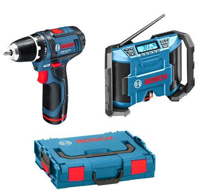 Набор инструмента Bosch GSR 10,8-2-LI + GML 10,8 V-LI L-Boxx [0601429201]Дрели, шуруповерты, гайковерты<br>- Мощный звук для прослушивания FM / AM и MP3-файлов<br>- Подключение внешних проигрывателей музыки через Aux-In<br>- Источник питания поставляется с Bosch 10,8В литий-ионными батареями и адаптером переменного тока<br>- 10 радиостанций &amp;#40;5 и 5 FM AM&amp;#41;<br>- Практичный отсек для хранения адаптера питания и AUX-IN кабеля<br>- Гибкая регулировка низких / высоких частот;<br>- 2 х 5 Вт динамики для стерео звука<br>- Полностью функциональный после падения с высоты 1 м<br>- AM / FM Stereo Radio<br>- 12-вольтовая розетка<br>- AUX вход<br>