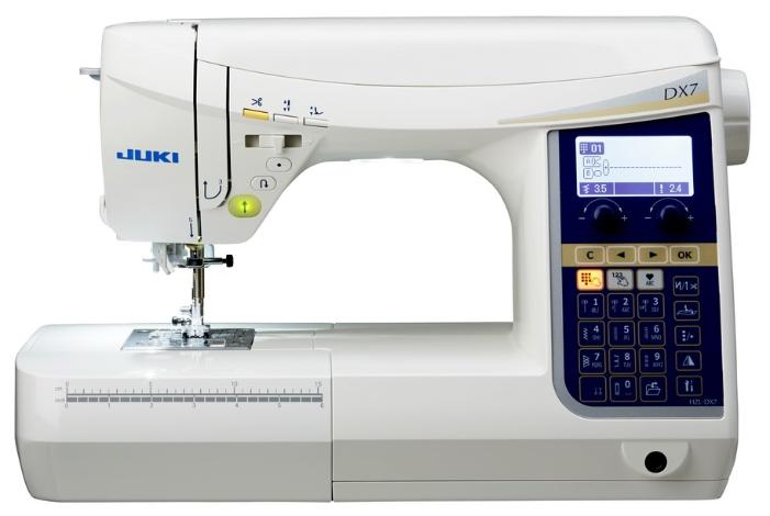 Швейная машина Juki HZL-DX7Швейные машины<br><br><br>Тип: компьютерная<br>Тип челнока: ротационный горизонтальный<br>Вышивальный блок: нет<br>Количество швейных операций: 287<br>Выполнение петли: автомат<br>Число петель: 10<br>Максимальная длина стежка: 5.0 мм<br>Максимальная ширина стежка: 7.0 мм<br>Потайная строчка : есть<br>Эластичная строчка : есть