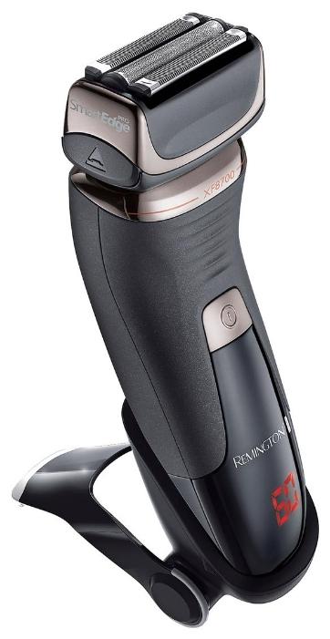 Электробритва Remington XF 8700Электробритвы<br>Технология Active Hybrid<br>Сетки LiftLogic<br>Лезвия AccuCut Blades<br>Технологии PivotAssist Plus и ConstantContour<br>Эргономичный дизайн для комфортного использования<br>Работа от аккумулятора<br>Литиевый аккумулятор, работа в беспроводном режиме – до 60 минут<br>Полная зарядка в течение 90 минут<br>Быстрая подзарядка в течение 5 минут<br>LED-дисплей показывает в минутах оставшееся время работы от аккумулятора<br>Выдвижной триммер<br>Автоматический выбор напряжения в сети<br>Водонепроницаемый корпус<br>Блокировка управления<br>Подставка для подзарядки<br>Сумочка для хранения<br><br>Тип : Сеточная электробритва<br>Количество бритвенных головок: 3<br>Плавающие головки: Есть<br>Способ бритья: Сухое<br>Скорость мотора, об/мин: н/а<br>Триммер: Есть<br>Отсек для сбора волосков: Есть<br>Подставка для зарядки: Есть<br>Защитная крышка: Есть<br>Дорожная блокировка  : Есть
