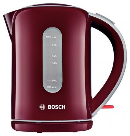 Электрочайник Bosch TWK 7604Чайники и термопоты<br><br><br>Тип   : Электрочайник<br>Объем, л  : 1.7<br>Мощность, Вт  : 3000<br>Тип нагревательного элемента: Закрытая спираль<br>Покрытие нагревательного элемента  : Нержавеющая сталь<br>Материал корпуса  : пластик<br>Индикация включения  : Есть<br>Индикатор уровня воды  : Есть<br>Блокировка крышки  : Есть<br>Фильтр  : Есть