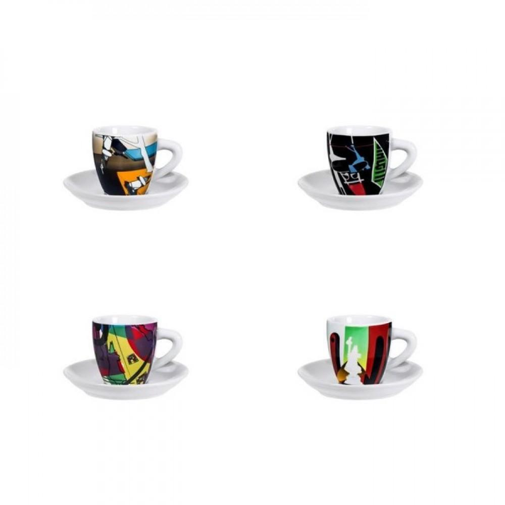 Набор чашек Bialetti Art 280Аксессуары для кофемашин<br>Набор чашек Bialetti Art 280 выполнен из фарфора, состоит из 2 чашек и 2 блюдец. Изящный дизайн и красочность оформления придутся по вкусу и ценителям классики, и тем, кто предпочитает утонченность и изысканность. Чайный набор - идеальный и необходимый подарок для вашего дома и для ваших друзей в праздники, юбилеи и торжества! Он также станет отличным корпоративным подарком и украшением любой кухни<br><br>Тип: набор чашек<br>Описание: объем 100 мл. Материал - фарфор
