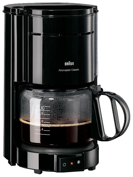 Кофемашина Braun KF 47/1 BlackКофеварки и кофемашины<br><br><br>Тип используемого кофе: Молотый<br>Мощность, Вт: 1000<br>Материал корпуса  : Пластик<br>Плита автоподогрева: Есть<br>Съемный лоток для сбора капель  : Нет