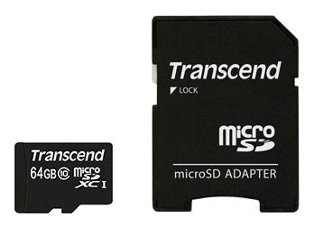 Карта памяти Transcend MicroSD(TransFlash) 64Gb Transcend Class10 + адаптер / TS64GUSDXC10