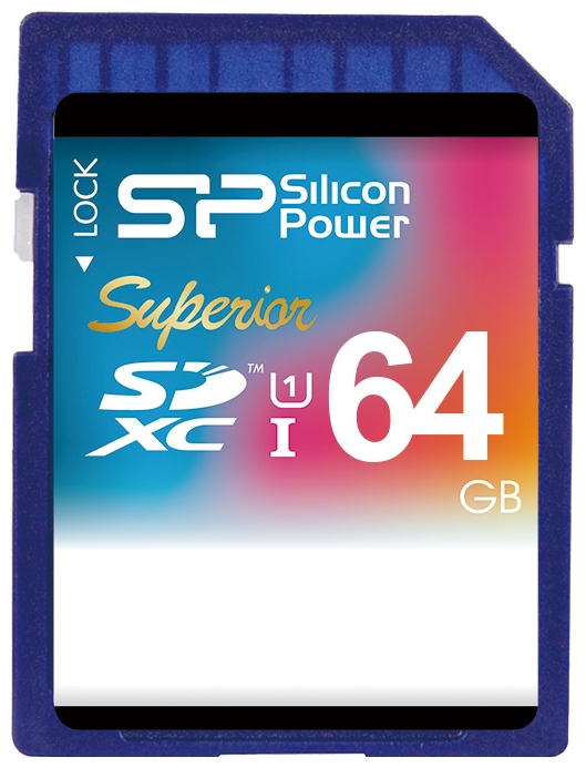 Карта памяти Silicon Power Superior SDXC UHS Class 1 Class 10 64GB/SP064GBSDXCU1V10